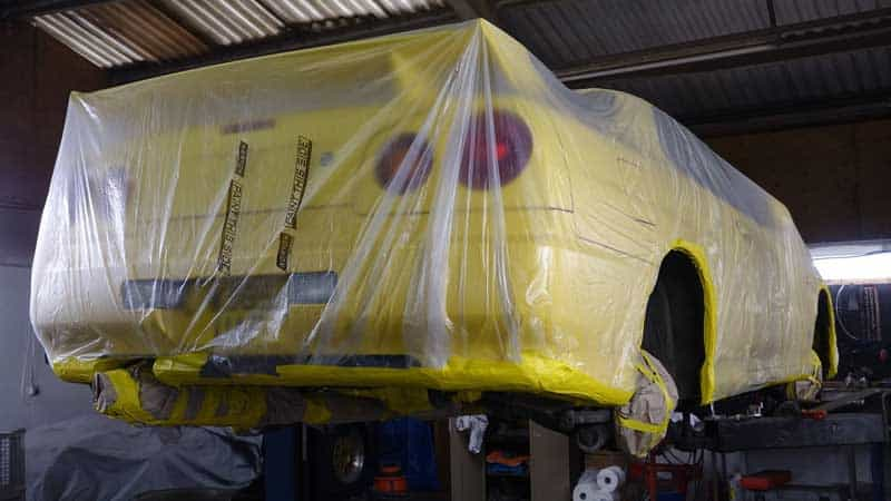 yellow bagged up car